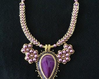 PURPLE pearl necklace and bracelet set, handmade jewelry