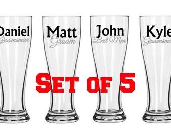 Set of 5 Bridal Party Pilsner Glasses, Groomsman gifts, personalized pilsner glasses