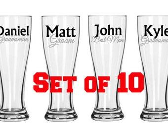 Set of 10 Bridal Party Pilsner Glasses, Groomsman gifts, personalized pilsner glasses