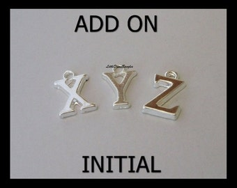 Add A Letter SILVER INITIAL / Alphabet Charm Drop - / Add on A To Personalize your Bracelet / Bangle  - USA  add on