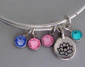 LOTUS Flower Charm Bangle  W/ Birhstone Drops / Gift For Her / Silver Infinity Accent / Under Twenty / Usa Y1