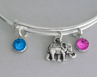Elephant  W/ Birhstone Drops / Gift For Her / Silver Infinity Accent / Under Twenty / Birthstone Bracelet  /  Stackable Bangles / Usa  E1