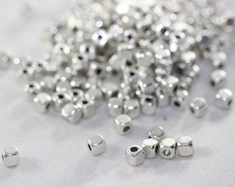 250 Pcs Silver Plated Tiny Square Beads 3x3mm - Square beadspacers - Bras Cubes - DIY Craft Supplies