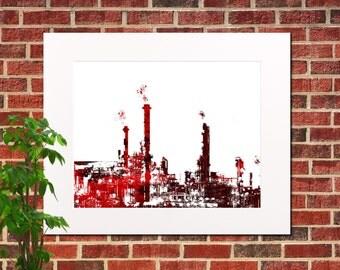 Oil Refinery Print Abstract City Art Print Industrial Home Decor Print Oil Refinery Abstract Poster 5313