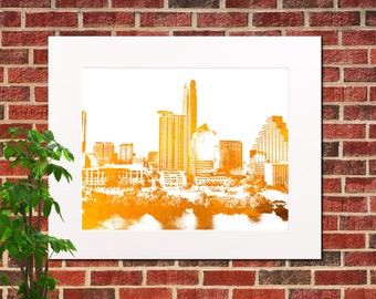 Austin Skyline Print Abstract City Art Austin Poster Austin Texas Poster 5318