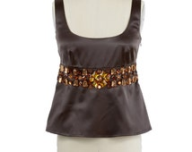 SALE!!! Satin Embellished Top,Chocolate Brown Top,Stretch Satin Top,Sample sale