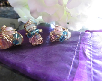 E.L.L.E Wire Wrapped Crystal Three Ring Set