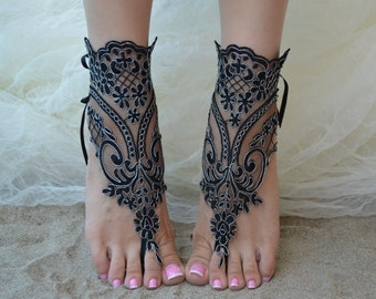 silver frame lace anklet beach wedding barefoot sandals lace barefoot sandals black lace barefoot black beach lace barefoot lace sandals