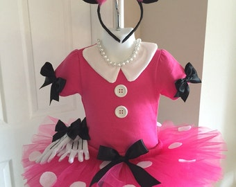 Hot Pink and White MINNIE MOUSE Costume Boutique Pageant Custom All Sizes 3pc Polka Dot DISNEY TuTu Pettiskirt Sizes 0-3mo - 4t