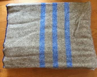 Wool Blanket , natural Romney with blue stripe