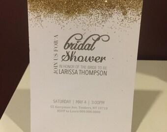 Bridal Shower Glittered Invite