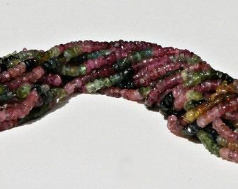 Tourmaline Multicolored Heishi 3 - 4 MM Beads 1 Strand.