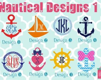 Nautical vinyl decals - monogram decals - monogrammed decals - sailboat - boat wheel - anchor decals