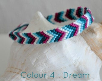 "Woven friendship bracelet/ anklet chevron arrow pattern Colour ""Dream"" 