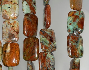 35x20mm African Green Opal Gemstone Brown Green Rectangle Loose Beads 15.5 inch Full Strand (90185886-126)