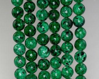 8mm Emerald Green Sesame Jasper Gemstone Round Loose Beads 15 inch Full Strand BULK LOT 1,2,6,12 and 50 (90184054-359)