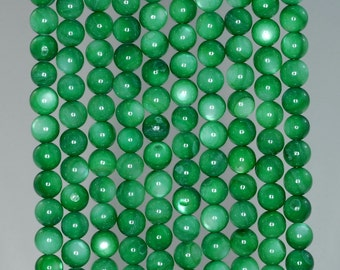 6mm Turquoise Green Sheen Shell Gemstone Round Loose Beads 15.5 inch Full Strand BULK LOT 1,2,6,12 and 50 (90183955-360)