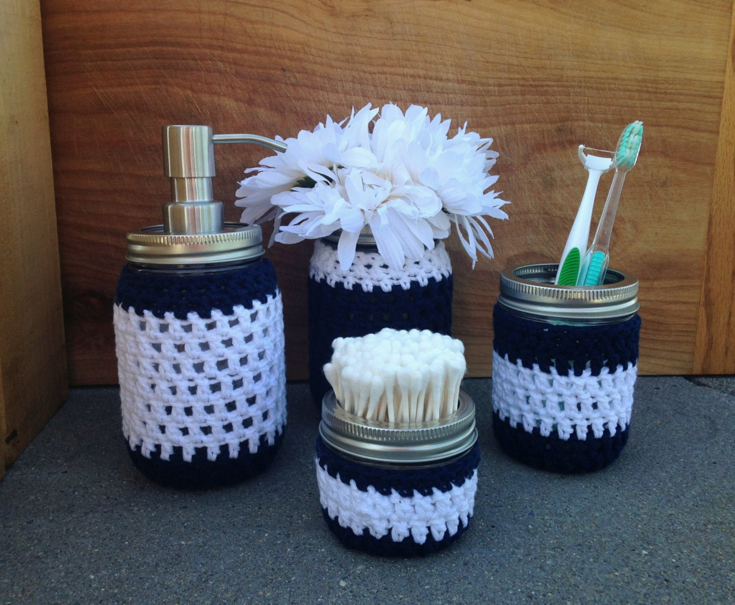 Mason jar bathroom set navy blue and white decor 4 pieces for Navy and white bathroom accessories