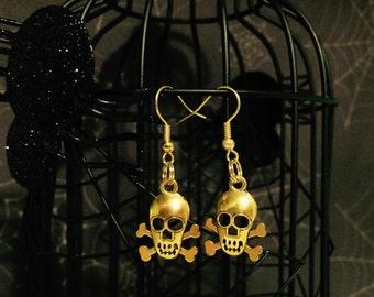 Skull Earrings Gold Color