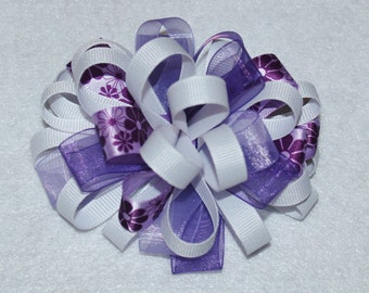 Loopy Hair Bow, Purple and White Loopy Hair Bow, Bubble Hair Bow