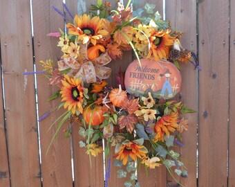 Fall Wreath, Sunflower Wreath, Harvest Wreath, Sunflower Wreath with Sign, Fall Door Wreath
