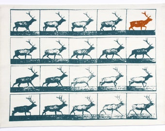 Linen tea towel, hand printed stag pattern