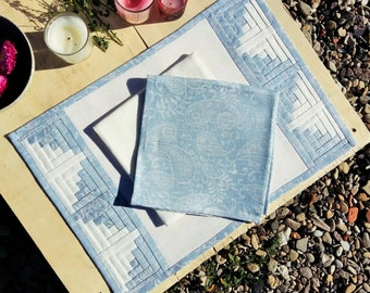 Classic White Linen Patchwork Placemat with Light Blue Paisley Border