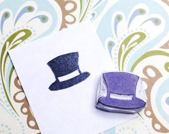 Top hat stamp, top hat hand carved stamp, top hat rubber stamp, handmade stamp, card making supplies