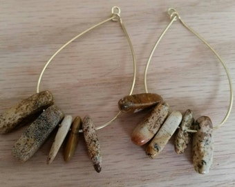Chic natural stone hoops