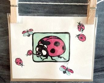 """Hand painted lady bug card, original miniature painting, """"Lana"""" 2, blank greeting card, insect card"""