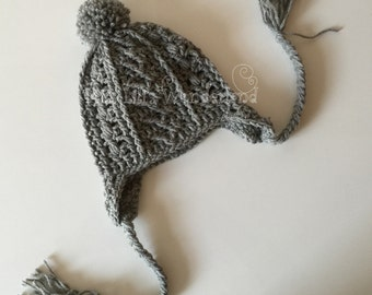Crochet baby hat, Cable baby hat, Crochet Beanie, Grey hat Photo Prop, Newborn hat Made to Order