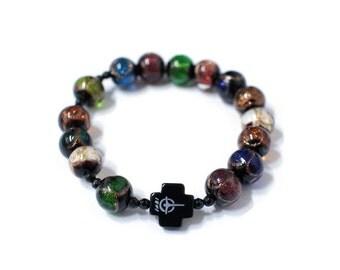 Venetian Rosary bracelet, stone bracelet, Black Cross Onyx bracelets, accessory