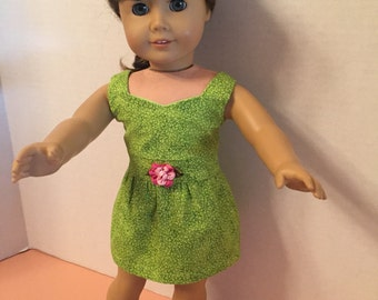 18 inch doll clothes-Apple green peplum dress with pink rose