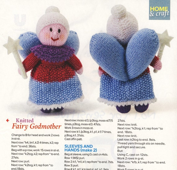 FAIRY GODMOTHER Doll Knitting Pattern Yours Magazine Soft