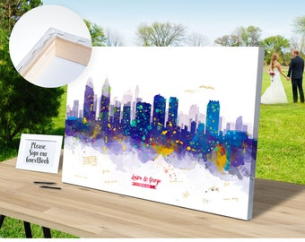 Philadelphia Skyline CANVAS Wedding Guest Book - Ready to Hang -  Gift Ideas Skyline - Guest Book, Bride and Groom, Wedding Ideas