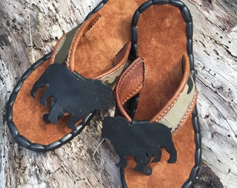 English bulldog sandals shoes men handmade leather and recycled tire