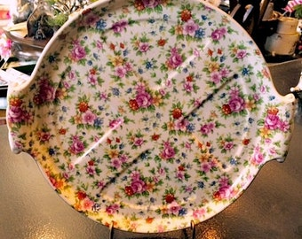 Rose Chintz Divided Plate