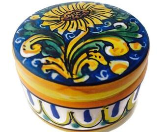Small  trinket box with sunflower - ring box - jewellery box