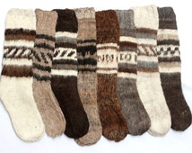 SUMMER SALE 12% OFF* Hand Knitted Bolivian Peruvian Alpaca Yarn Rustic Long Socks Warm in Natural Colors with Ethnic Andean Designs