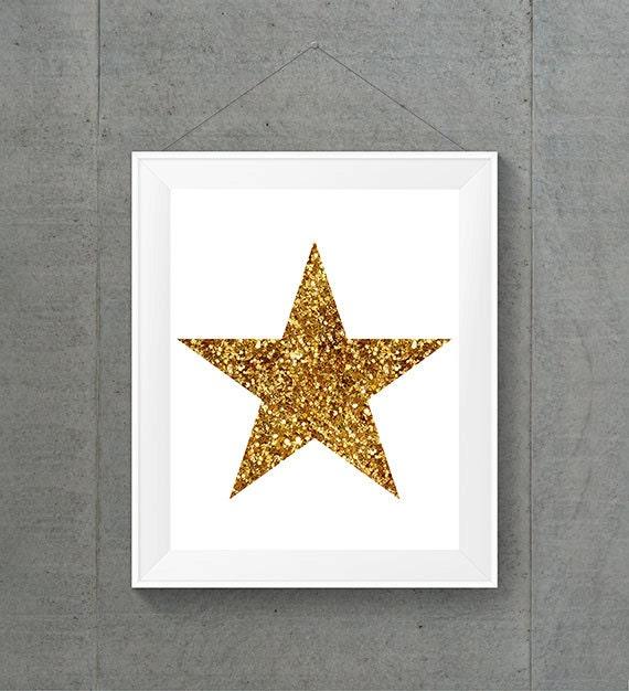 Gold Glitter Wall Decor : Printable wall art gold glitter star space decor