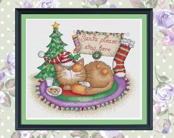 waiting for santa cross stitch pattern