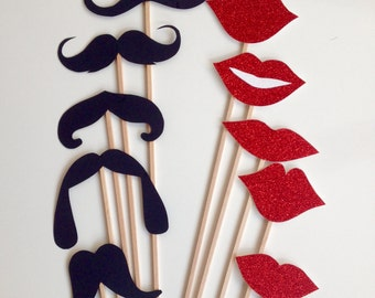 10-Piece Mustache and Glitter lips – Photo Booth Props, Wedding, Hen, Bachelore and Bachelorette party.