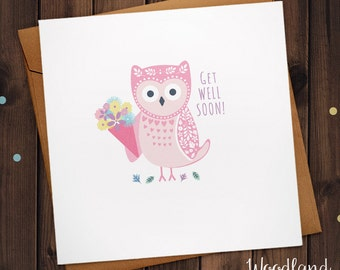 Get Well Soon illustrated Owl Greetings card holding a bunch of flowers
