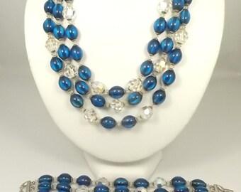 Trifari Vintage Necklace & Bracelet Set Sapphire Blue and Arora Borealis Crystals