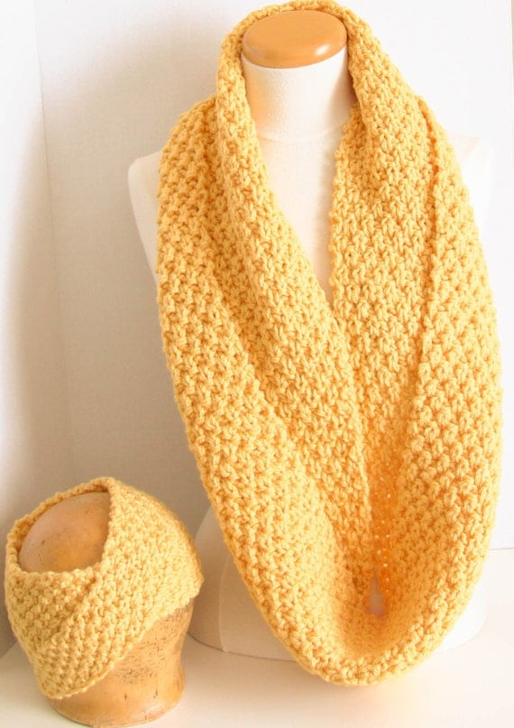 Hand knit infinity cowl/headband set in Mimosa