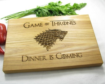Game of Thrones Cutting Board Personalized, Boyfriend Gift, Game of Thrones Dinner is Coming Stark Family, Custom Engraved Cutting Board