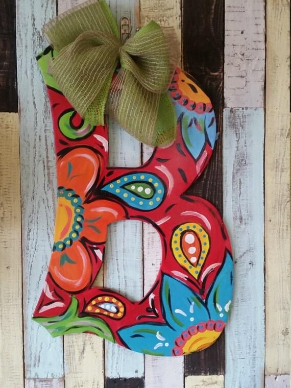 Paisley Initial Door Hanger