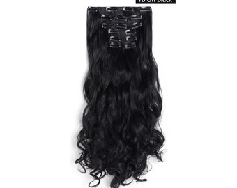 "20"" Curly Clip in Hair Extensions - Full Head 7 pcs Synthetic Hair Pieces (1B- Off Black)"