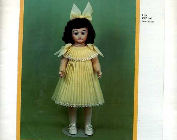 "FREE usa SHIP Byron Doll Pattern 1980's 276 Dress Hairbow Fits 20"" doll Old Store Stock Sewing Pattern"