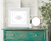 8x10 Horizontal White Frame Mockup, Vintage Poster Mockup, Digital Poster Frame, Styled Photography Product Mockup, INSTANT DOWNLOAD